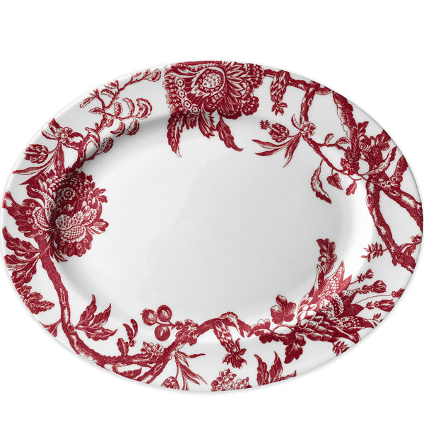 Arcadia Crimson Large Oval Platter in Red and White