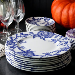 Arcadia Dinner Plates Stack in Blue and White on a Holiday Buffet
