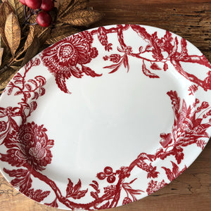 Arcadia Crimson Large Oval Platter on Wood