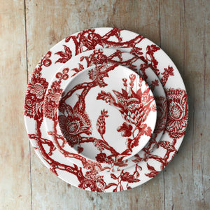 Arcadia Crimson Dinner Plate, Salad Plate and Canape Bread Plate in Red and White