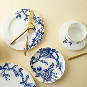 Arcadia Blue 5 Piece Place Setting Includes Dinner Plate, Salad Plate, Cup, Saucer, and Bread Plate