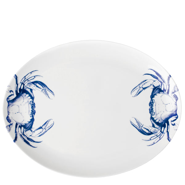 Caskata Oval Platter with 2 Blue Crabs in premium porcelain
