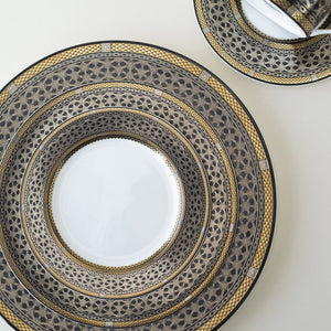 Hawthorne Onyx (Gold, Platinum, Black) 5 Piece Place Setting (Dinner, Salad, Bread Plate, Cup & Saucer)
