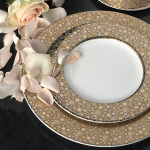 Ellington Shimmer Bone China in Gold and Platinum Dinner Plate and Salad Plate
