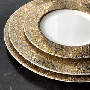 Ellington Shimmer Insignia C Bone China Gold and Platinum Charger Plate, Dinner Plate and Salad Plate