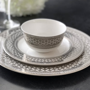 Hawthorne Ice (Platinum) Dinner Plate, Salad Plate, and Small Bowl