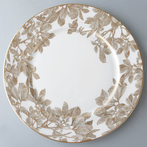 Arbor Gold Floral Bone China Charger Plate with Detailed Leaves and Branches
