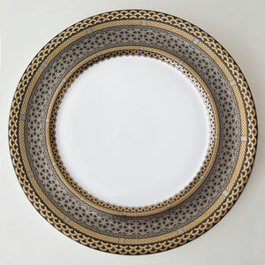 Hawthorne Onyx Bone China Charger Plate Lavished with Platinum, Gold and Glossy Black