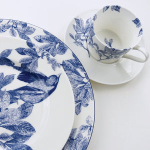 Arbor Blue Floral Tea Cup and Saucer, Dinner Plate and Birds Accent Plate