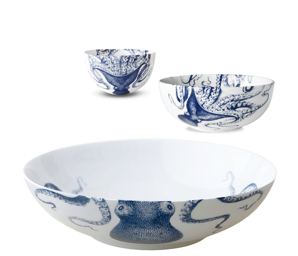 Blue Lucy Serving Bowl Set/3 - Caskata