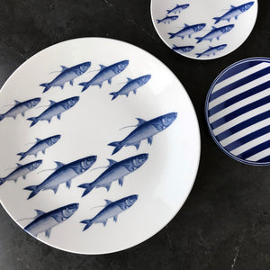 School of Fish Blue Appetizer Plate with School of Fish Platter and Beach Towel Appetizer Plate