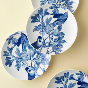 Arbor Birds Blue Appetizer Plates Set/4