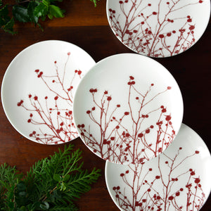 Winterberries Appetizer Plates Set/4