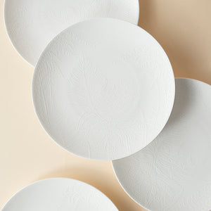 Spring White Appetizer Plates Set/4