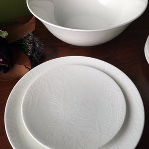 Spring Ferns White Medium Serving Vegetable Bowl, Salad Plate and Appetizer Plate