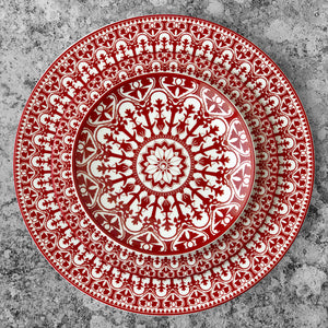 Casablanca Crimson Collection Dinner Plate, Salad Plate, Canape Bread Plate in Red and White