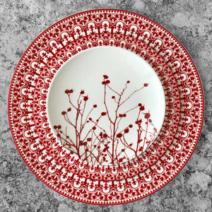 Casablanca Crimson Rimmed Dinner Plate and Salad Plate Shown with Winterberries Canape Bread Plate