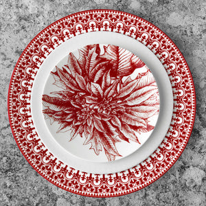 Casablanca Crimson Rimmed Dinner Plate Shown with Cambridge Stripe Salad Plate and Poinsettia Canape Bread Plate in Red and White