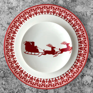 Casablanca Crimson Rimmed Dinner Plate in Red and White Shown with Pearls Salad Plate and Sleigh Canape Bread Plate