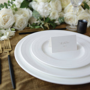 Cambridge Stripe White Charger, Dinner, and Salad Plate