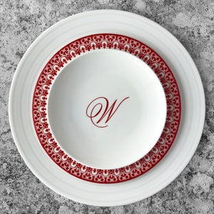 Casablanca Crimson Red and White Salad Plate Shown With Cambridge Stripe White Dinner Plate and Monogrammed Canape Plate