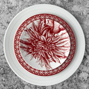 Casablanca Crimson Salad Plate Shown with Cambridge Stripe Dinner Plate in White and Poinsettia Canape Plate