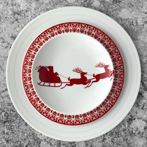 Casablanca Crimson Salad Plate in Red and White Shown with Cambridge Stripe Dinner Plate and Sleigh Canape Plate