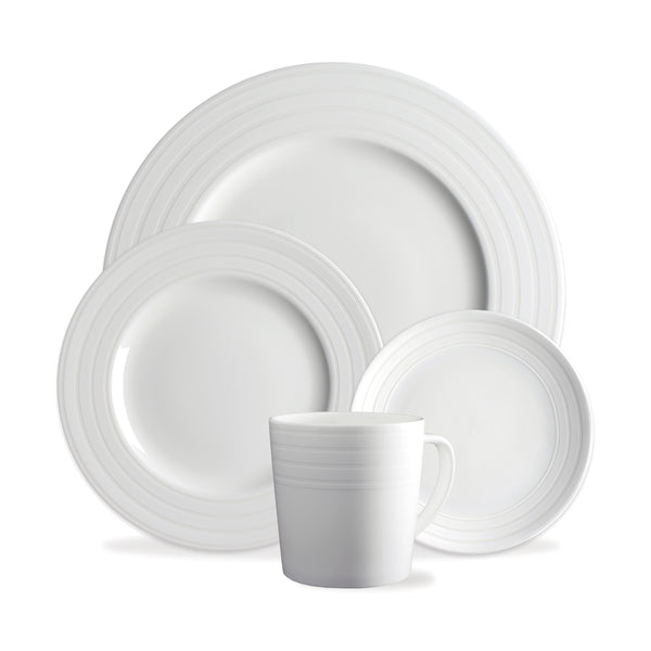 Cambridge Stripe White 4 Piece Place Setting (Dinner, Salad, Bread Plate, Mug)