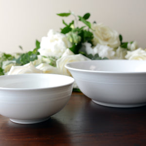 Cambridge Stripe White Cereal Soup Salad Bowl and Medium Serving Bowl