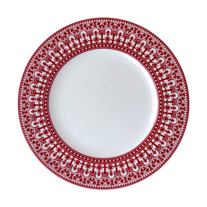 Casablanca Crimson Rimmed Dinner Plate in Red and White