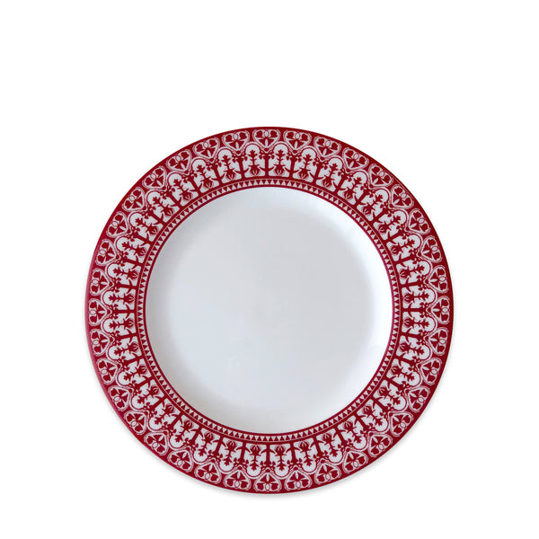Casablanca Crimson Rimmed Salad Plate in Red and White
