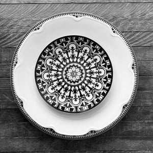 Casablanca Dinner Plate, Grace Shaped Plate and Casablanca Canape Plate