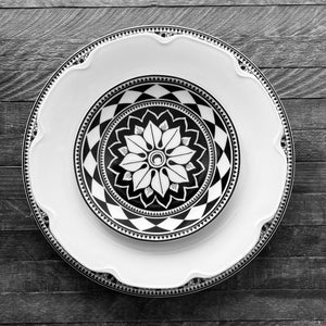 Casablanca Dinner Plate, Grace Shaped Plate, Fez Canape Plate from Caskata