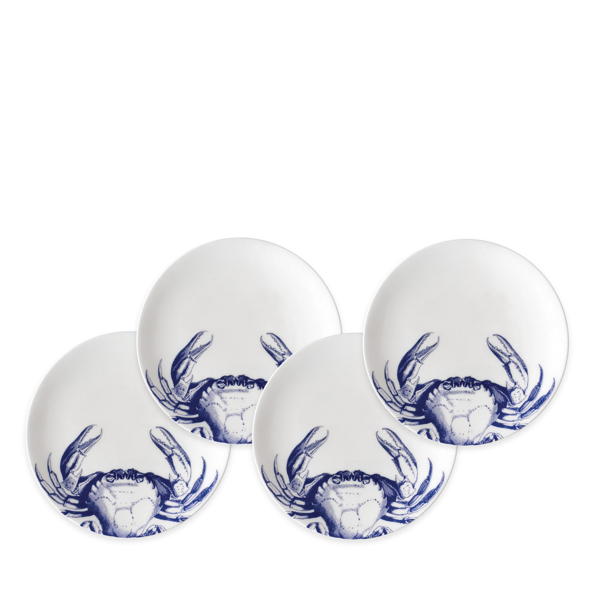 Crabs Blue Canapé Plates Boxed Set/4 - Caskata