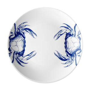 Crabs Blue Coupe Dinner Plate - Caskata