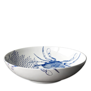 Crabs Blue Wide Serving Bowl - Caskata