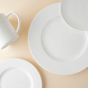 Spring Ferns White 4 Piece Place Setting (Dinner, Salad, Bread Plate, Mug)