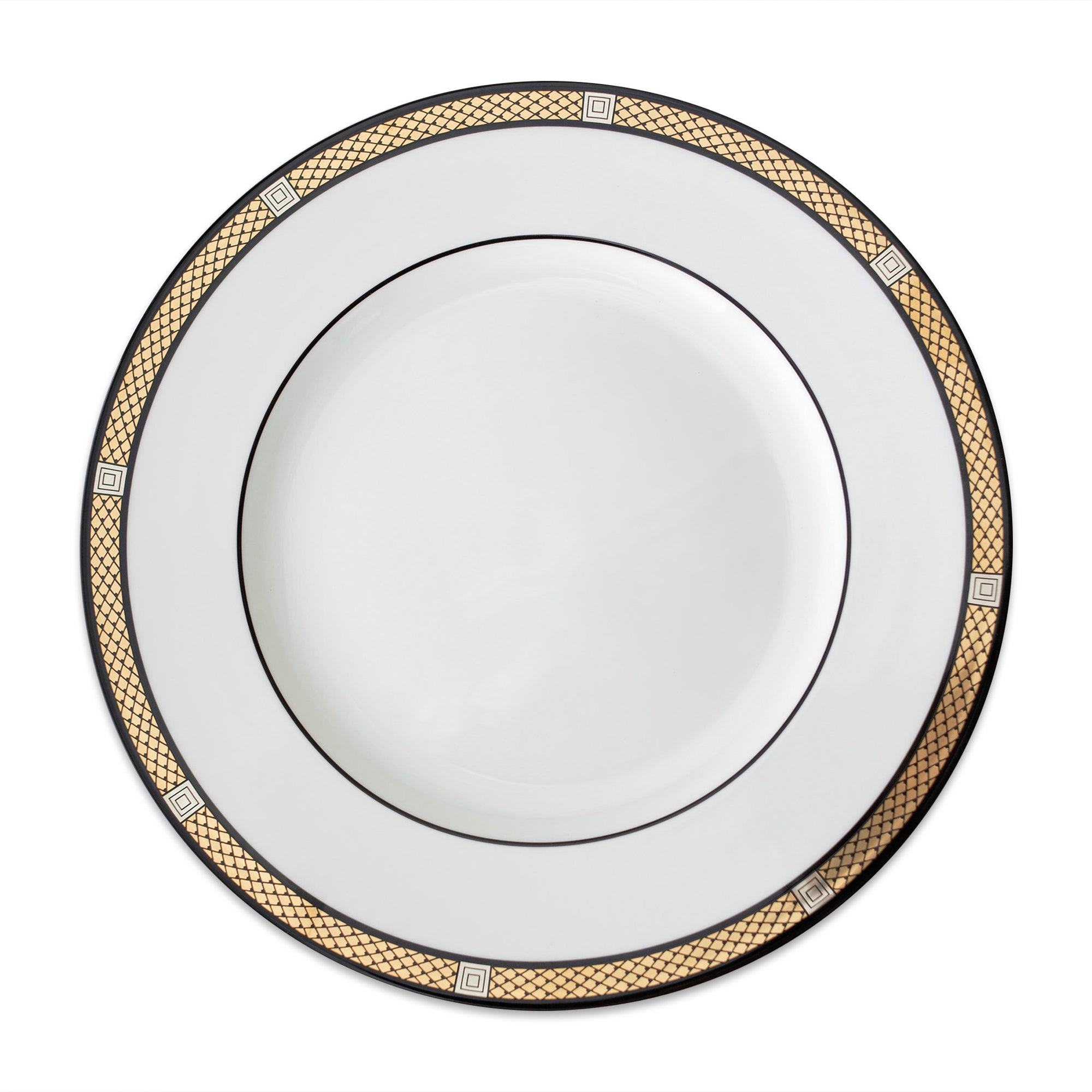 Hawthorne Onyx Gold & Platinum Simple Dinner Plate - Caskata