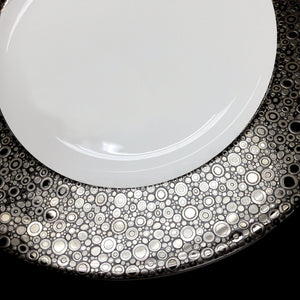 Ellington Shine Bone China Charger Plate in Multi-toned Platinum