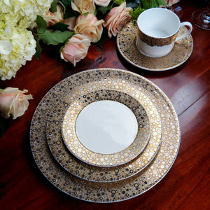 Ellington Shimmer Gold and Platinum 5 Piece Place Setting includes Dinner Plate, Salad Plate, Bread Plate, Cup & Saucer