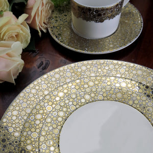 Ellington Shimmer Bone China in Golden Platinum 5 Piece Place Setting with Dinner Plate, Salad Plate, Bread Plate, Cup & Saucer