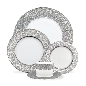 Ellington Shine 5 Piece Platinum Place Setting (Dinner Plate, Salad Plate, Bread Plate, Cup & Saucer) in Bone China