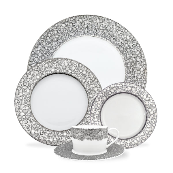 Ellington Shine 5 Piece Place Setting (Dinner, Salad, Bread Plate, Cup & Saucer)