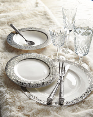 Ellington Shine Salad Plate in Platinum on Bone China, Shown with Simple Rimmed Dinner Plate and Rimmed Soup Bowl