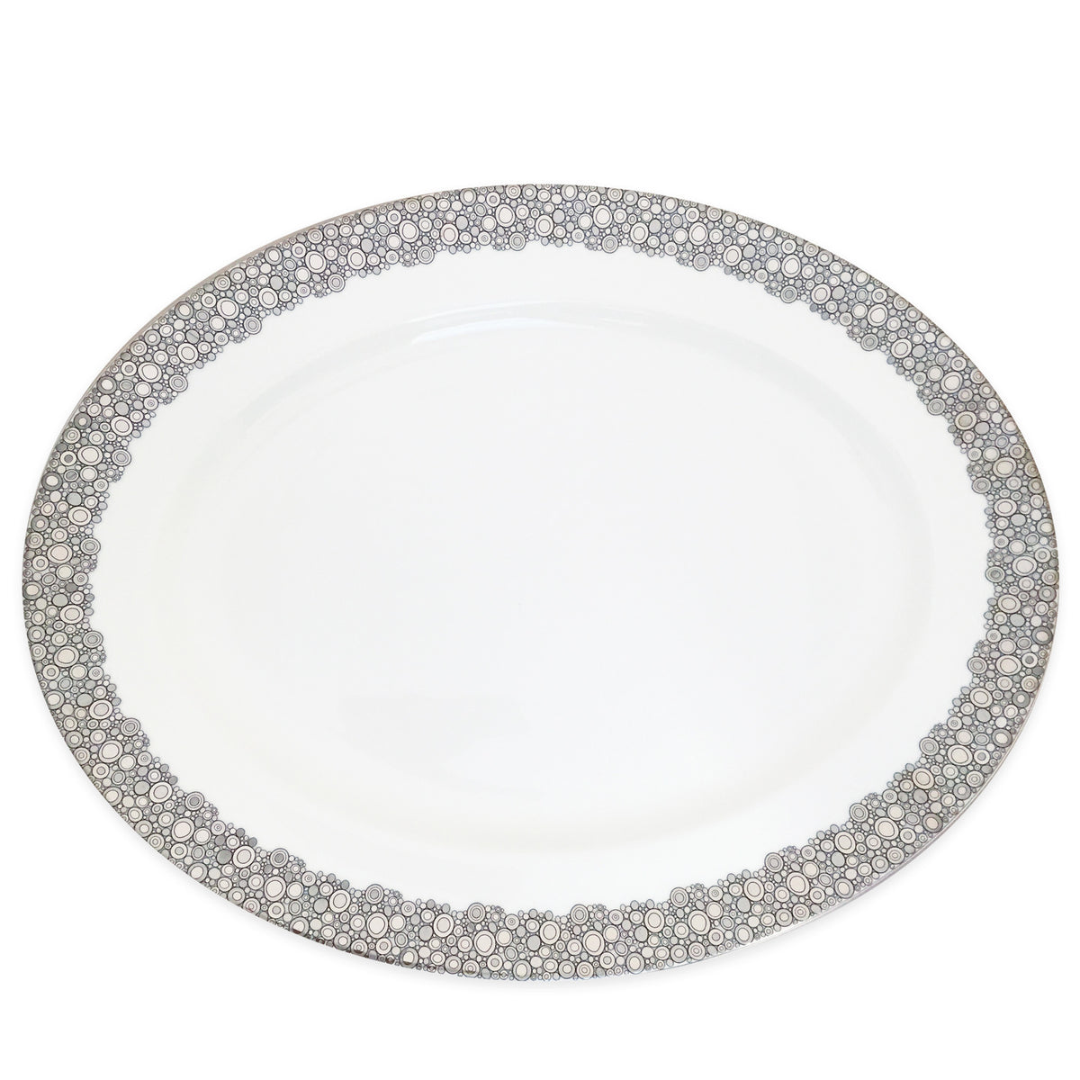 "ELLINGTON SHINE - 16""  Bone China Rimmed Oval Platter - PL - Caskata"