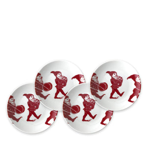 Elves Red Appetizer Plates Set/4