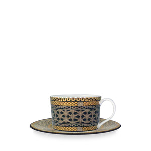Hawthorne Onyx (Gold, Platinum & Black) Tea Cup and Saucer