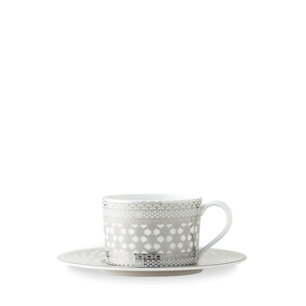 Hawthorne Ice (Platinum) Tea Cup and Saucer