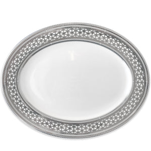 Hawthorne Ice (Platinum) 16 in Oval Serving Platter