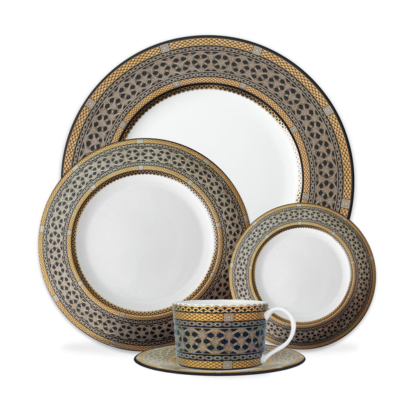 Hawthorne Onyx (Gold, Platinum & Black) 5-Piece Place Setting